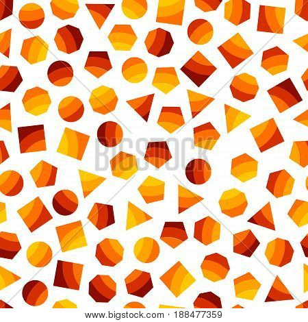 Seamless geometric pattern with orange squares triangles circles pentagons hexagons and heptagons for tissue and postcards. Trendy geometric elements. Hipsters modern color background. Vector illustration