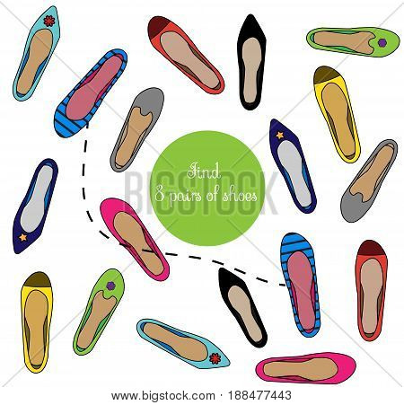 Find the same pictures children educational game. Find pairs of shoes shoes kids activity