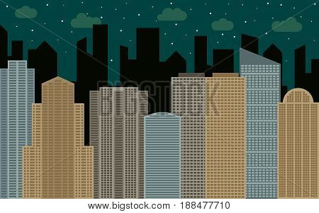 Night urban landscape. Street view with cityscape skyscrapers and modern buildings at sunny day. City space in flat style background concept.