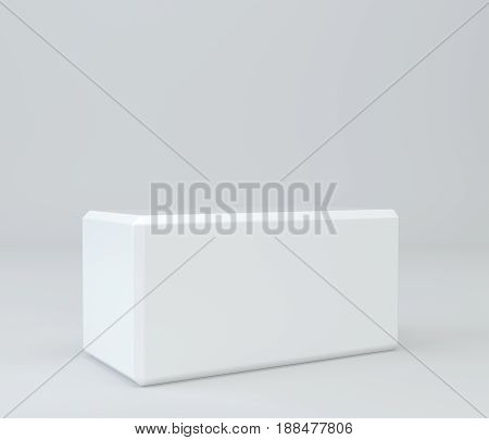 White pedestal on wall studio background. 3d rendering