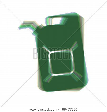 Jerrycan oil sign. Jerry can oil sign. Vector. Colorful icon shaked with vertical axis at white background. Isolated.