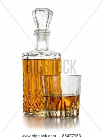 Bottle and a glass of strong liquor flavored