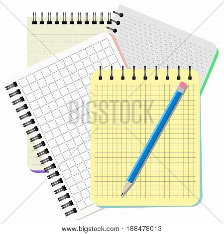 Four notebooks and blue pencil on a white background