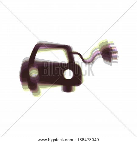 Eco electric car sign. Vector. Colorful icon shaked with vertical axis at white background. Isolated.