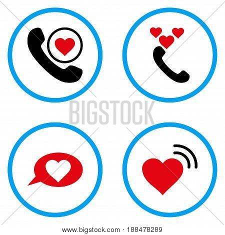 Love Heart Message rounded icons. Vector illustration style is a flat iconic symbols inside blue circles. Designed for web and software interfaces.