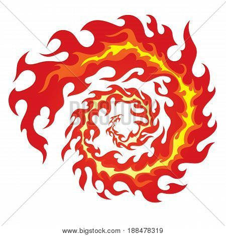 Illustration of a flame inscribed in a circle, flames