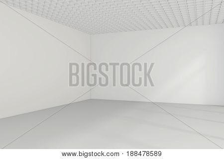 Empty room interior white background. 3d rendering.
