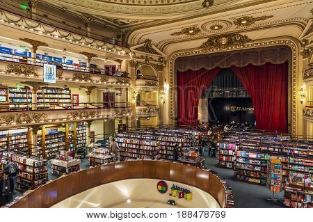 Buenos Aires Argentina - October 5 2013: The beautiful bookstore