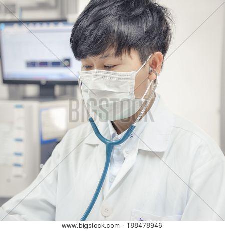 portait Asia scientist work in white tone.