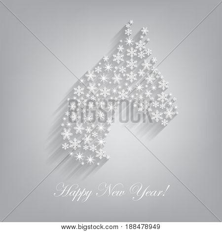 Horse. Happy new year 2014. Vector illustration.