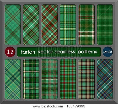 Set in Green Tartan Seamless Pattern Background. Red Black Green Gold Blue and White Plaid Tartan Flannel Shirt Patterns. Trendy Tiles Vector Illustration for Wallpapers.