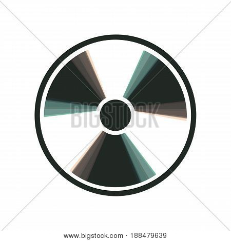 Radiation Round sign. Vector. Colorful icon shaked with vertical axis at white background. Isolated.