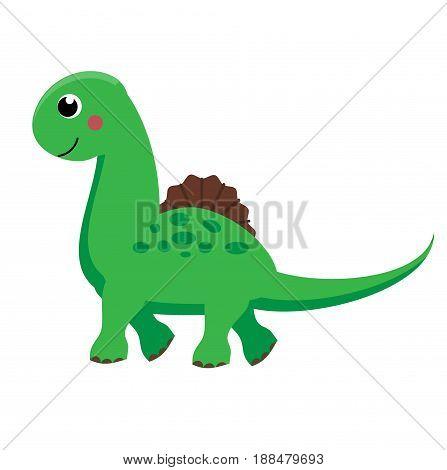 Cute green dinosaur. Cartoon dino character. Isolated vector illustration for kids
