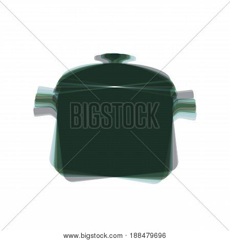 Cooking pan sign. Vector. Colorful icon shaked with vertical axis at white background. Isolated.