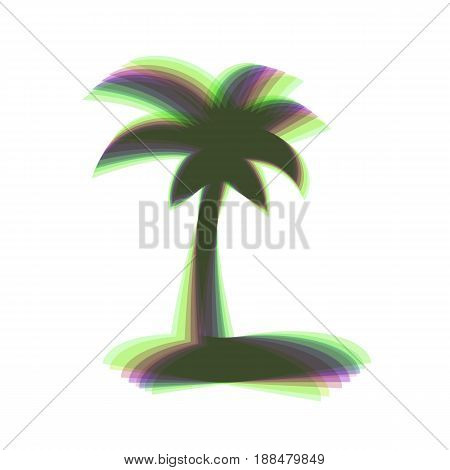 Coconut palm tree sign. Vector. Colorful icon shaked with vertical axis at white background. Isolated.