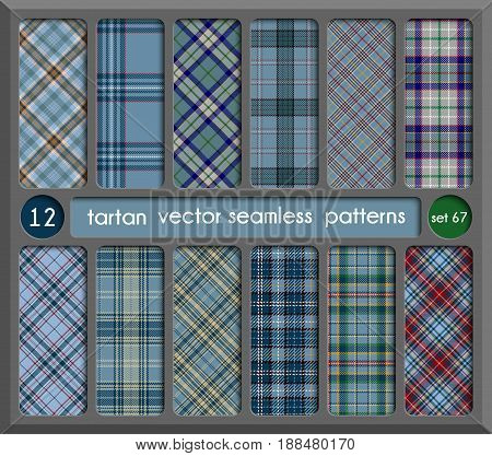 Set in Blue Tartan Seamless Pattern Background. Red Black Green Gold Blue and White Plaid Tartan Flannel Shirt Patterns. Trendy Tiles Vector Illustration for Wallpapers.