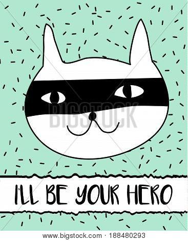 Doodle cat in superhero mask. Modern postcard flyer design template. Inspirational motivational banner