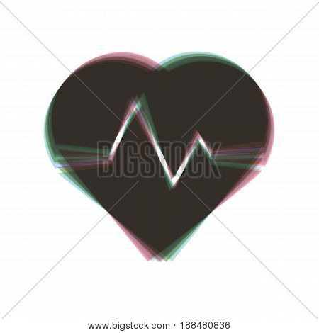 Heartbeat sign illustration. Vector. Colorful icon shaked with vertical axis at white background. Isolated.