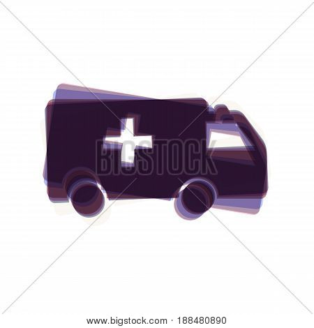 Ambulance sign illustration. Vector. Colorful icon shaked with vertical axis at white background. Isolated.