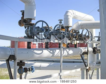 Pipelines And Latches. Oil Refinery. Equipment For Primary Oil Refining