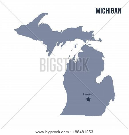 Vector Map State Of Michigan Isolated On White Background.