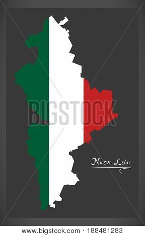Nuevo Leon Map With Mexican National Flag Illustration
