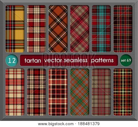 Set in Red Tartan Seamless Pattern Background. Red Black Green Gold Blue and White Plaid Tartan Flannel Shirt Patterns. Trendy Tiles Vector Illustration for Wallpapers.