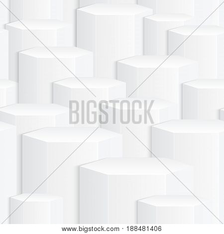 White seamless abstract background with 3D effect