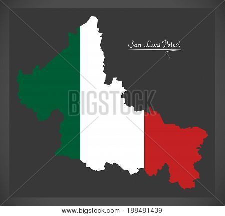 San Luis Potosi Map With Mexican National Flag Illustration