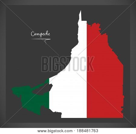 Campeche Map With Mexican National Flag Illustration