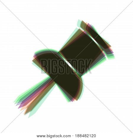 Pin push sign. Vector. Colorful icon shaked with vertical axis at white background. Isolated.