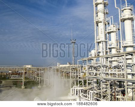 Oil Refinery. Equipment For Primary Oil Refining