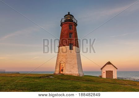 The Point Judith light near Narragansett, Rhode Island, at sunset.