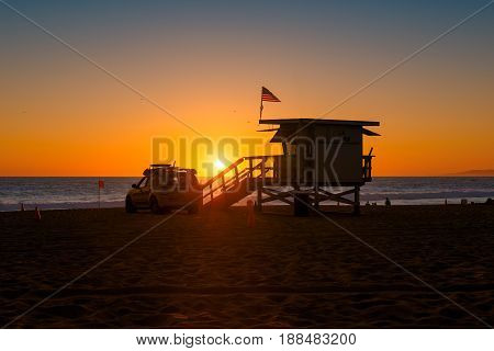 Los Angeles beach at sunset, Southern California.