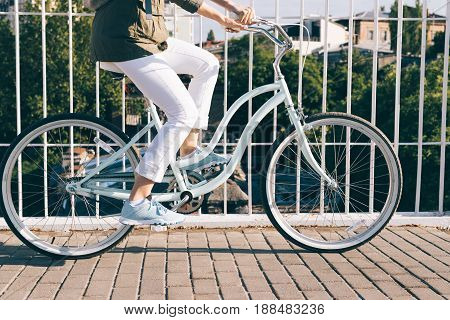 Trip On A Stylish Bike Around The City On A Sunny Morning
