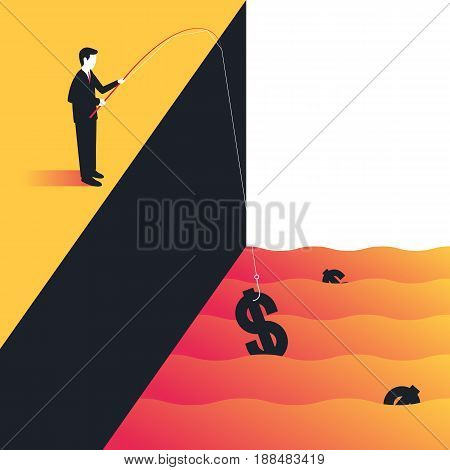 Businessman catching money by a fishing rod. Making money, innovation, success, concept of business. Vector illustration in trendy style
