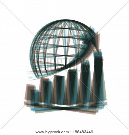 Growing graph with earth. Vector. Colorful icon shaked with vertical axis at white background. Isolated.