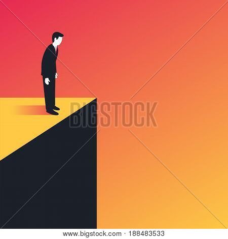 Businessman standing on the edge and looking down. Risk and challenge business concept. Vector illustration in trendy style