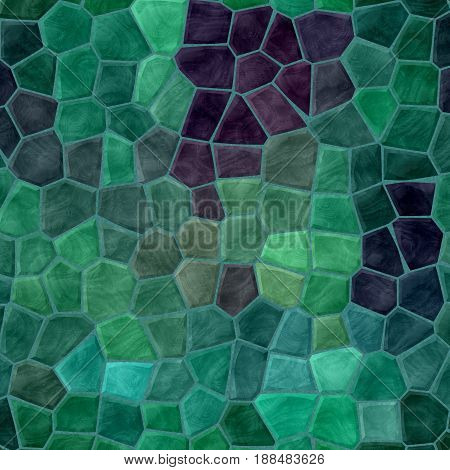 abstract nature marble plastic stony mosaic tiles texture background with green grout - emerald and purple colors
