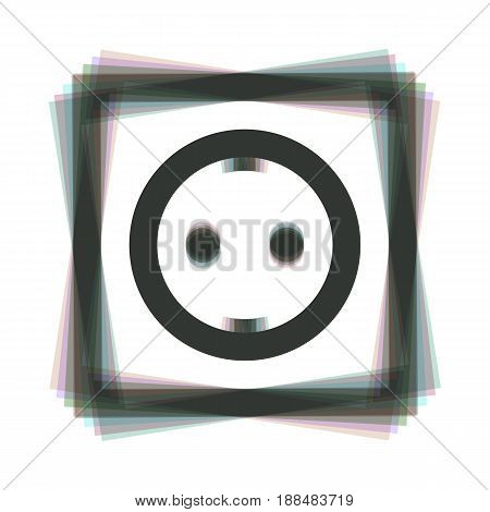 Electrical socket sign. Vector. Colorful icon shaked with vertical axis at white background. Isolated.