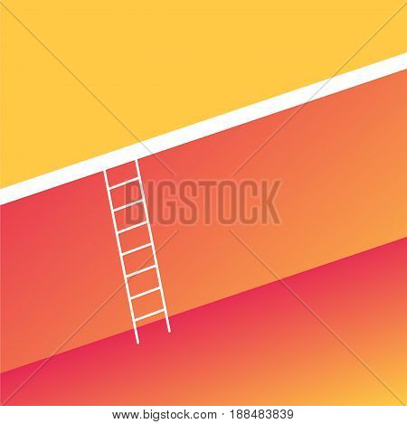 Ladder across the big wall. The concept of business solutions and growth. Vector illustration in trendy style