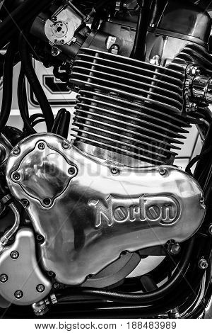 BERLIN GERMANY - MAY 17 2014: Engine of a sports motorcycle Norton Commando 961 Cafe Racer. Black and white. 27th Oldtimer Day Berlin - Brandenburg