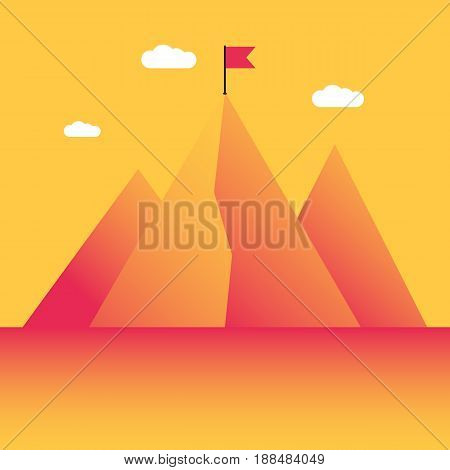 Mountain peak with flag, goals achievement. Success in business concept. Vector illustration in trendy style