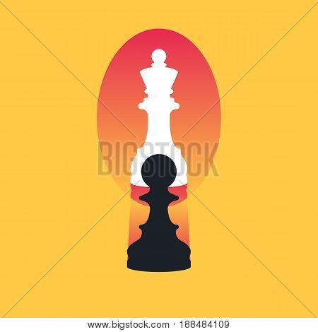 Chess pawn looking in the mirror and seeing a queen. Confidence and strength concept. Vector illustration in trendy style