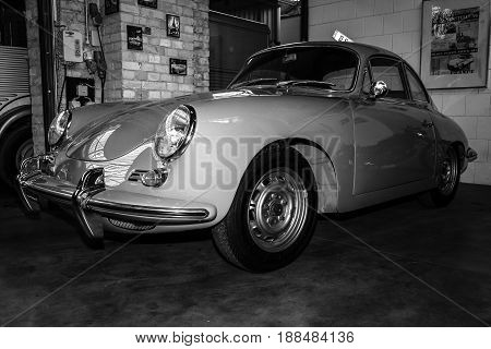 BERLIN GERMANY - MAY 17 2014: Sports car Porsche 356 Coupe. Black and white. 27th Oldtimer Day Berlin - Brandenburg