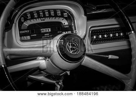 BERLIN GERMANY - MAY 17 2014: The cabin of the Renault Caravelle. Black and white. 27th Oldtimer Day Berlin - Brandenburg