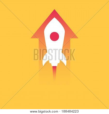Rocket and the up arrow. The concept of achieving the goals, desire for success, starting a new business. Vector illustration in trendy style