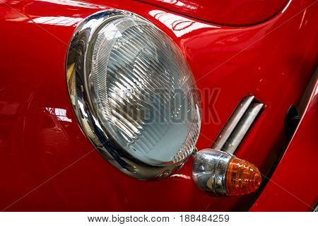 BERLIN GERMANY - MAY 17 2014: Headlamp of the sports car Porsche 356 Coupe. 27th Oldtimer Day Berlin - Brandenburg