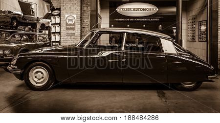 BERLIN GERMANY - MAY 17 2014: Mid-size luxury car Citroen DS 18. Sepia. 27th Oldtimer Day Berlin - Brandenburg
