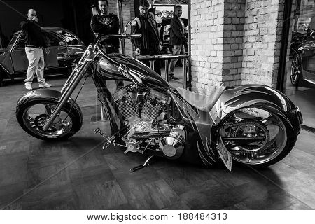 BERLIN GERMANY - MAY 17 2014: Handmade's motocycle Chili One (Chili Custom Motors). Black and white. 27th Oldtimer Day Berlin - Brandenburg